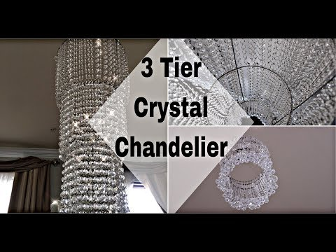 HOW TO MAKE A EASY 3 TIER GORGEOUS CRYSTAL CHANDELIER - HOME/WEDDING DECOR