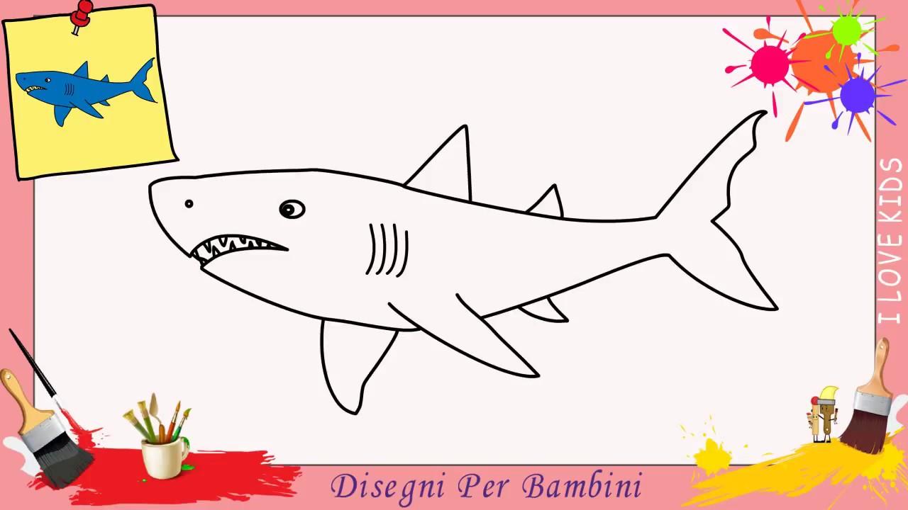 come disegnare uno squalo facile passo per passo per
