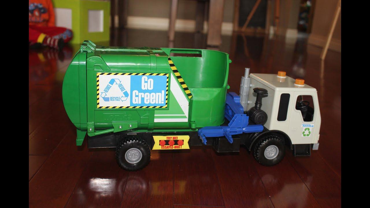 Tonka Toy Trucks >> Go Green Tonka Garbage Truck - YouTube