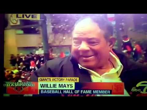 SF Giants Victory Parade - Reporter & Willie Mays Interview Fail 10-31-12