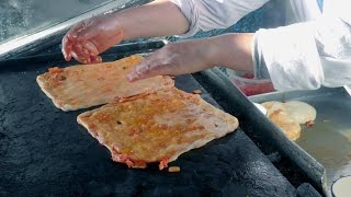 Street Food of Marrakech, Morocco. Cooking the Msemmen Pancake. Moroccan Crepe