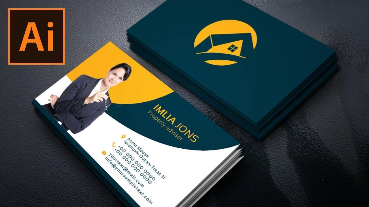 Real Estate Business Card Design in Illustrator