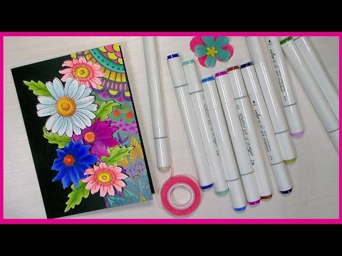 Flower Power Card & Alcohol Marker Coloring with NEW Color It Markers!