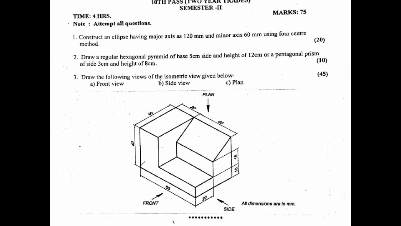 I T I Engineering Drawings 2nd Sem Aug 2017 Youtube