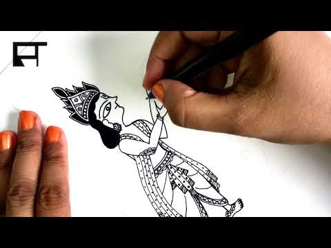 Madhubani Painting Tutorial (How to Draw स्वयंवर in Madhubani Painting) LESSON – 17 #linedrawing