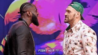 1ST FACE OFF! DEONTAY WILDER VS. TYSON FURY 2 - FULL FACE TO FACE VIDEO - LOS ANGELES, CA