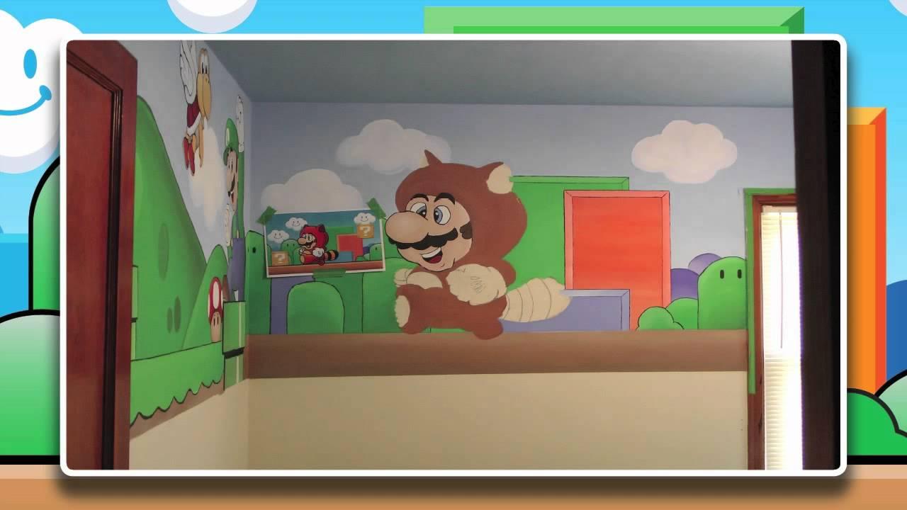 Super Mario Bedroom Super Mario Bros Nursery Mural Youtube