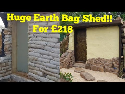 Making a Huge DIY Shed from Earth bags for £218! (Man cave, office, cabin, tiny home, tiny living)