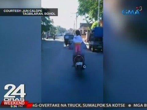 24 Oras: Ilang bata, walang helmet at nakatayo pa sa umaandar na motorsiklo