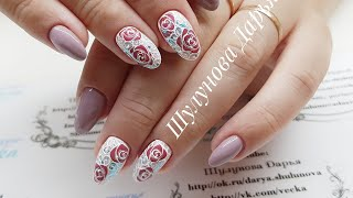 МИЛЛИОН РОЗ  Трафаретная роза в дизайне ногтей. Короткие ногти