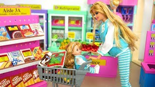 Barbie Doll Deluxe Supermarket Shopping Kelly Baby Doll! Boneka Barbie Supermercado