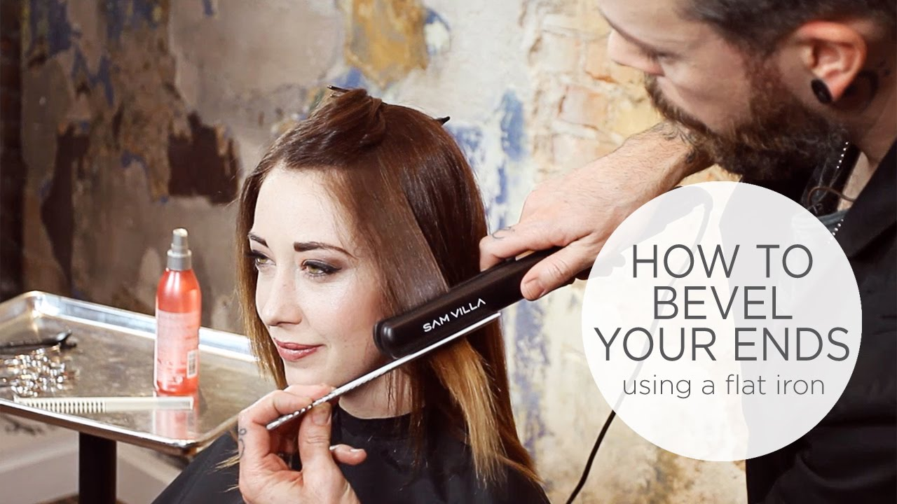 how to bevel hair with your straightening iron - youtube