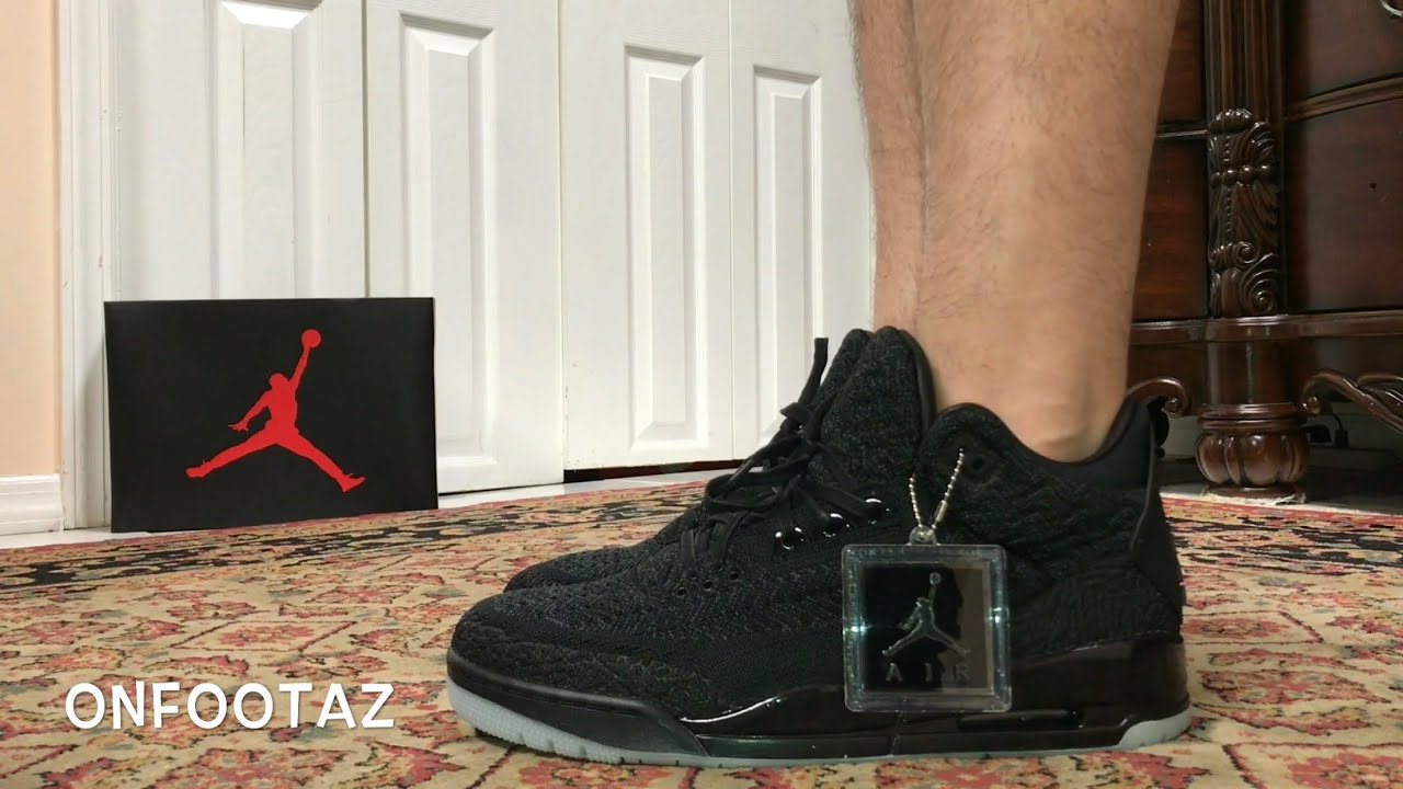 best sneakers 81d9e a4bfc Air Jordan 3 III Flyknit Black On Foot