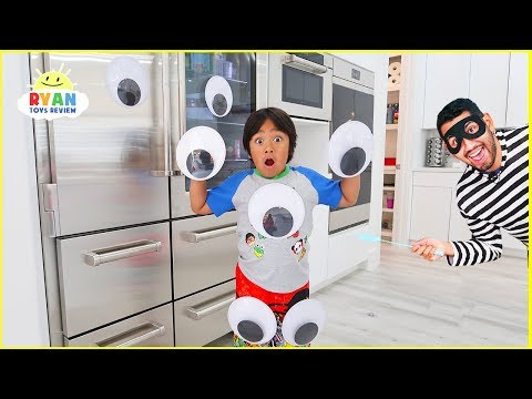 Ryan Pretend Play with Giant Magical Googly Eyes everywhere