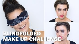 Blindfolded make up challenge (with subs) - Linda Hallberg Makeup Tutorials Thumbnail