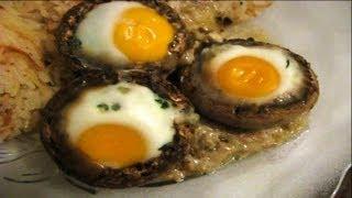 Mantar Dolması.  Грибы фаршированные с перепелиными яйцами. TURKEY. IZMIR.