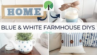 BLUE & WHITE FARMHOUSE DIYs | Dollar Tree Farmhouse Decor | Coastal Farmhouse Decor DIYs