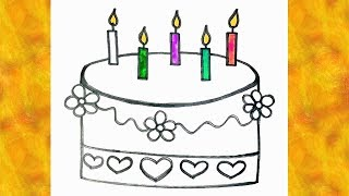 Birthday Cake Drawing & Colouring For Kids - Colouring Pages For Childrens | Learn With Fun TV