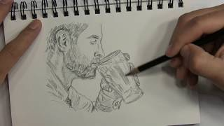 How to Sketch a Man Drinking Beer