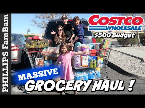 MASSIVE COSTCO GROCERY HAUL | LARGE FAMILY HAUL | LETTING THE KIDS CHOOSE SNACK FOOD PHILLIPS FamBam