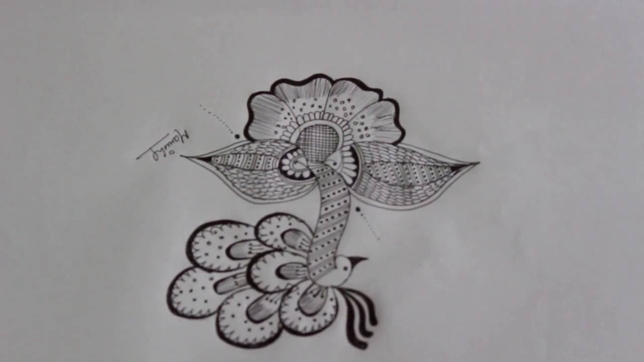Peacock rangoli pencil sketch youtube