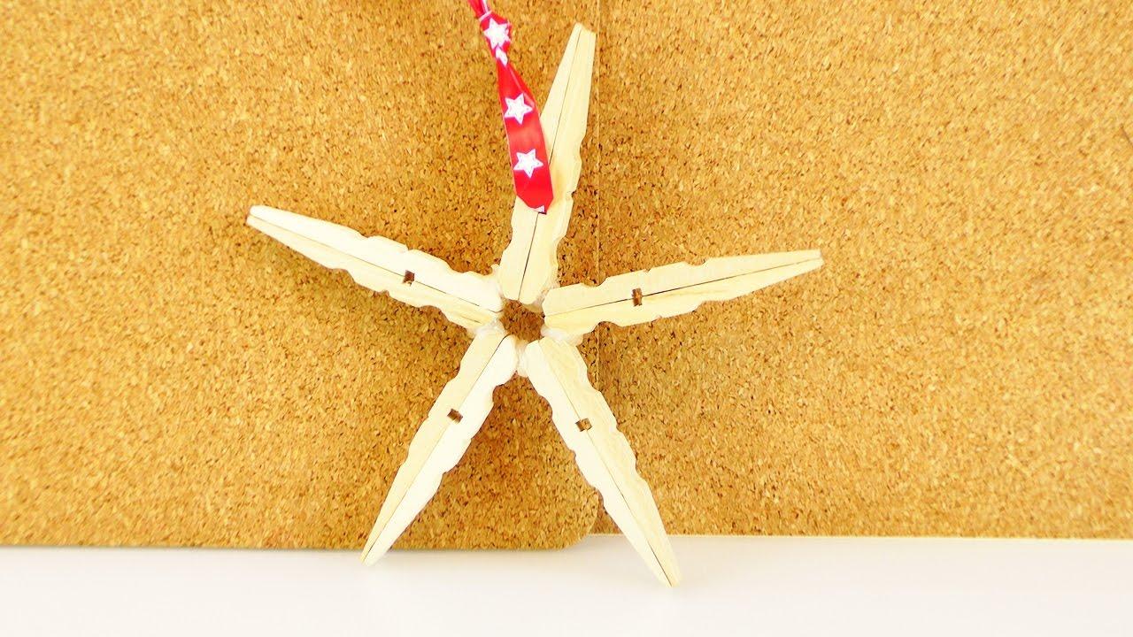 weihnachtsdeko selber machen stern aus w scheklammern holzstern ganz einfach selber machen. Black Bedroom Furniture Sets. Home Design Ideas