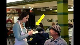 Официантка покормила бездомного, но была поражена, узнав кто это на самом деле