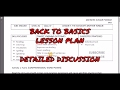 Back to Basics Lesson Plan | Activity Plan | How to make B2B Lesson Plan