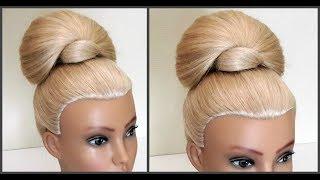 Пучок.Легкий вариант для создания самой себе Объемного пучка.Easy beautiful hairstyle for yourself
