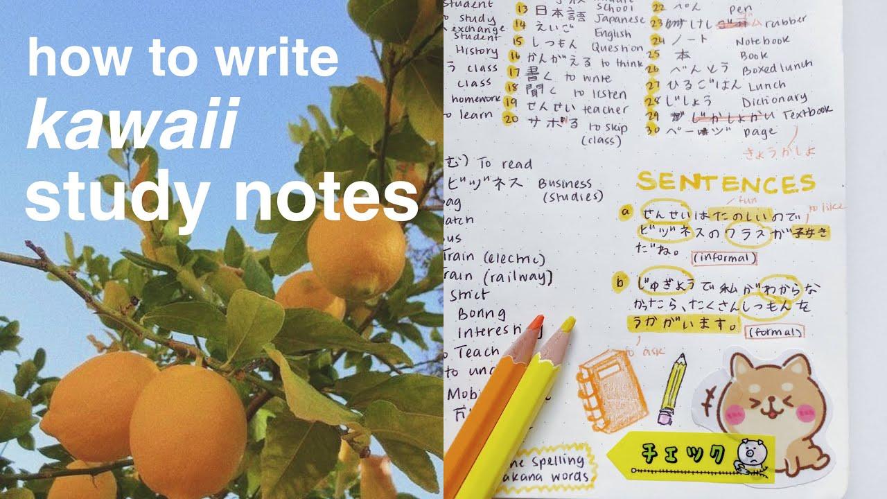 "my ""kawaii"" study notes 📝 🍋"