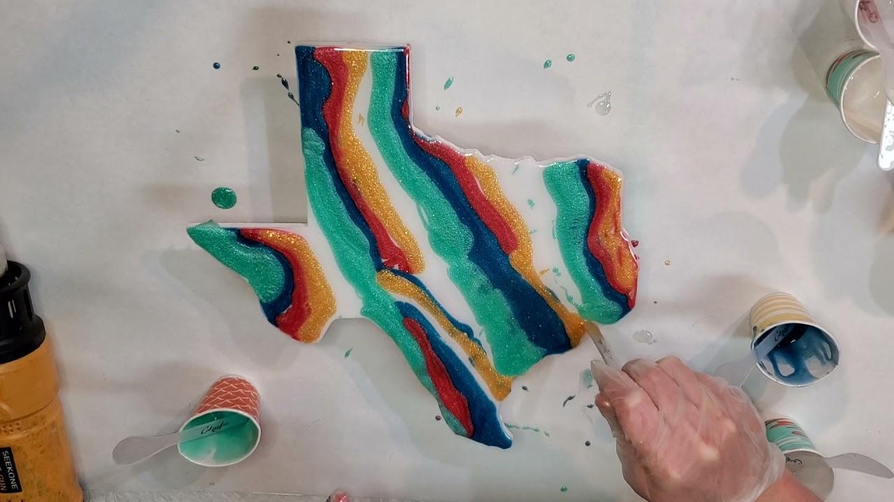 #233 - Resin Art Texas | #Resinart #Rezinarte #Colourarte #Tutorial #Texas