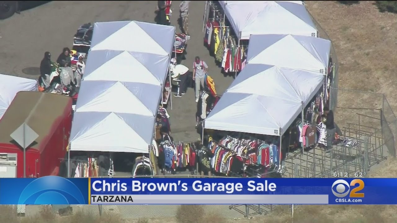 Chris Brown Hosts a Yard Sale at His Home