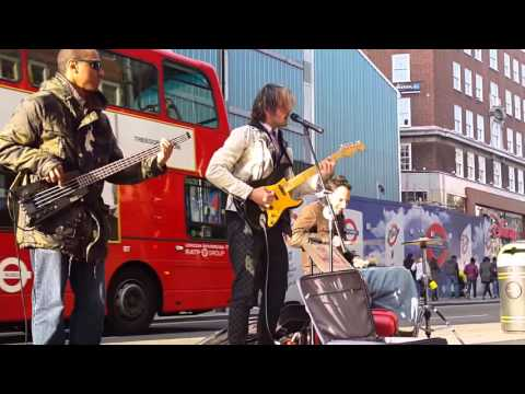 The HOD - performing Speed of Light on Oxford Street in London
