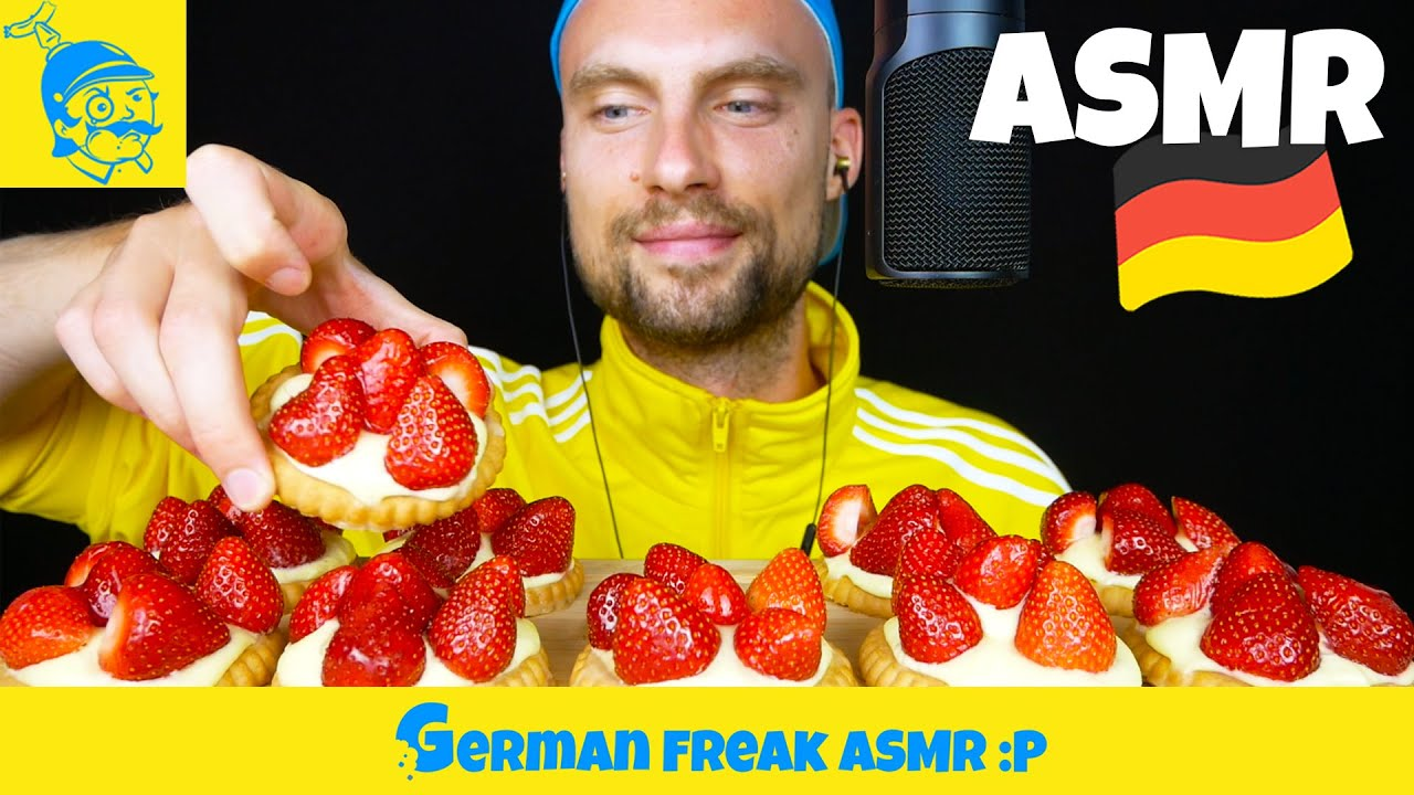 ASMR strawberry cupcakes eating 🍓 (German ASMR) - GFASMR