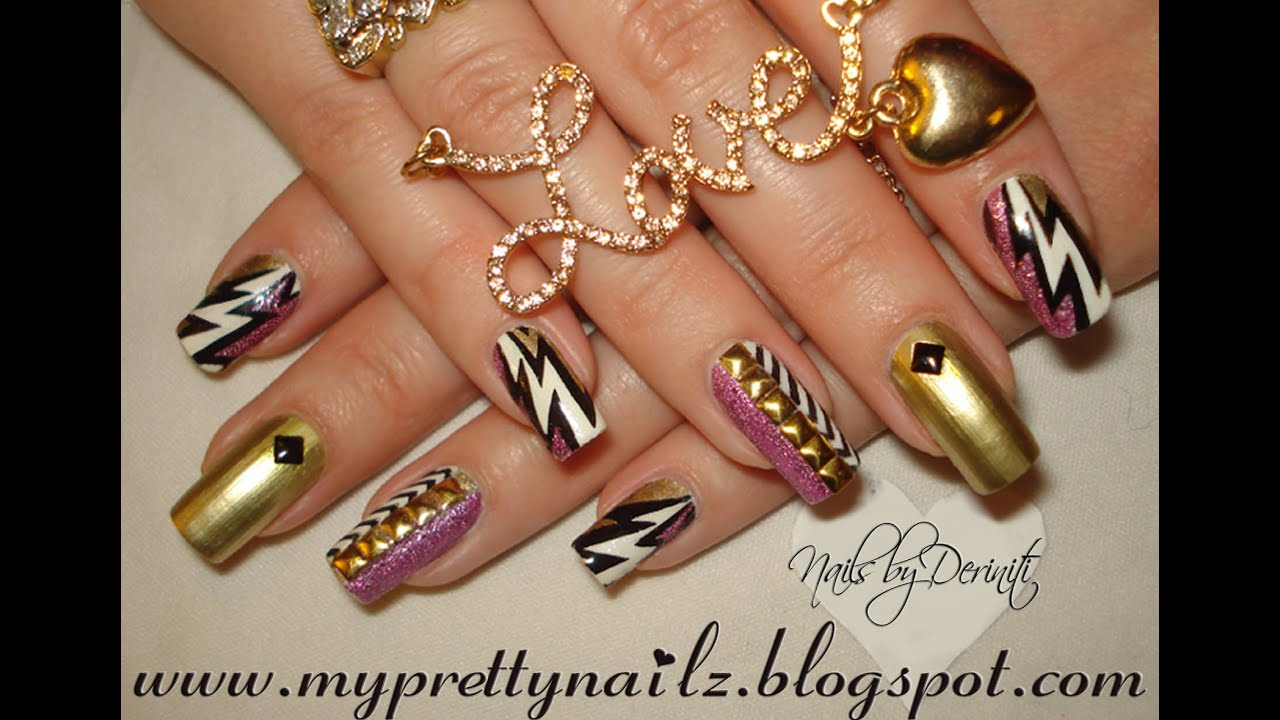 Striking Glitz Glam Gold Studded Nail Art Tutorial