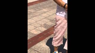 Aruna Sharma iPhone 5s Video near Flower Puppy Guggenheim Museum, Bilbao, July 23, 2014