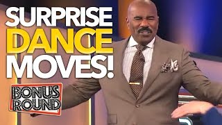SURPRISE FAMILY FEUD Contestants That Can DANCE ... Steve Harvey EVEN JOINS IN! Bonus Round