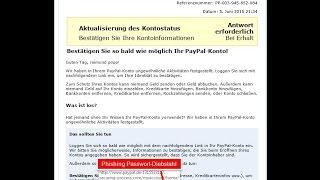 Ungewöhnliche Aktivitäten in Ihrem PayPal-Konto Phishing Email