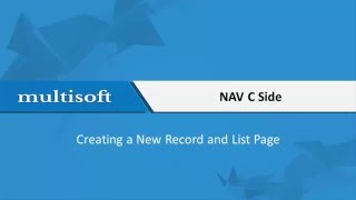 How to create a new record and list page in NAV C Side video | Multisoft Virtual Academy
