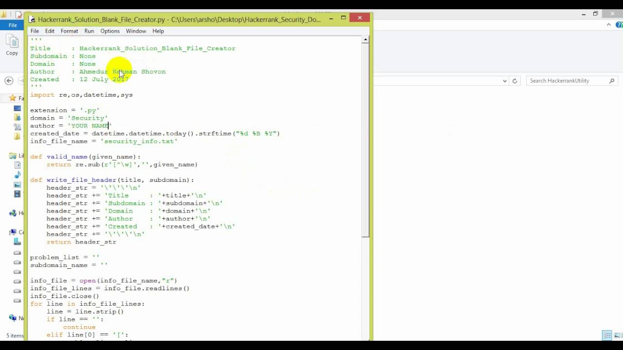 Hackerrank Solution Blank File Creator DEMO