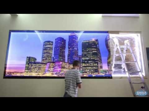 Монтаж стеклянной панели с подсветкой