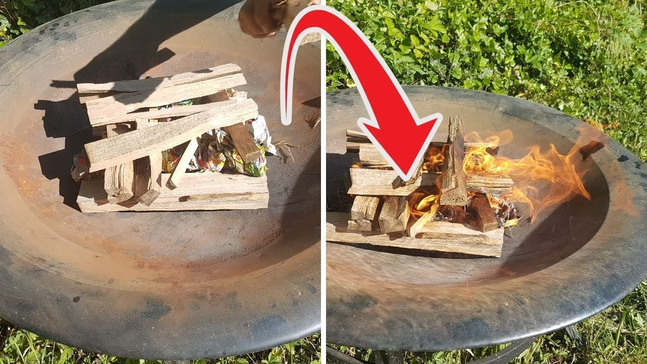 How To Start A Fire In A Fire Pit With Newspaper - YouTube