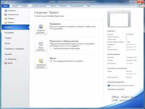 Как установить пароль на документ word 2010