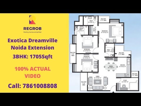 exotica-dreamville-noida-extension-|☎️7861008808-|-actual-video-|-3bhk+study:-1705sft-|-💰-69.5-lacs