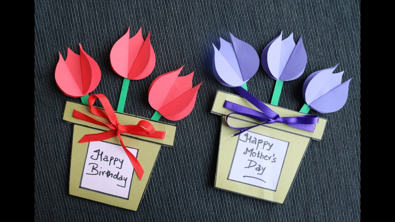 DIY Mother's Day Card Making - Easy and Beautiful Card For Mother's Day - Paper Craft
