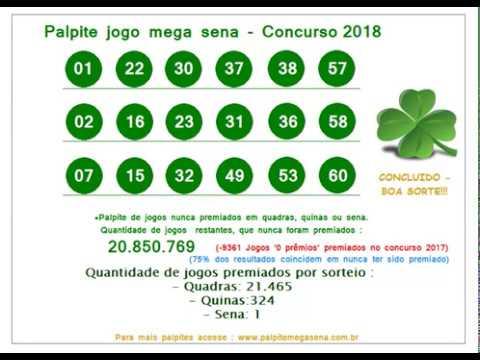 Palpite Mega Sena - Concurso 2018 - Quarta - 28/02/2018