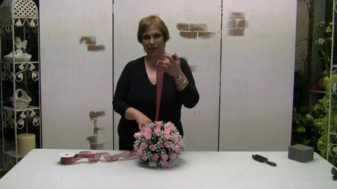 How to make a pomander ball kissing ball using silk flowers youtube mightylinksfo