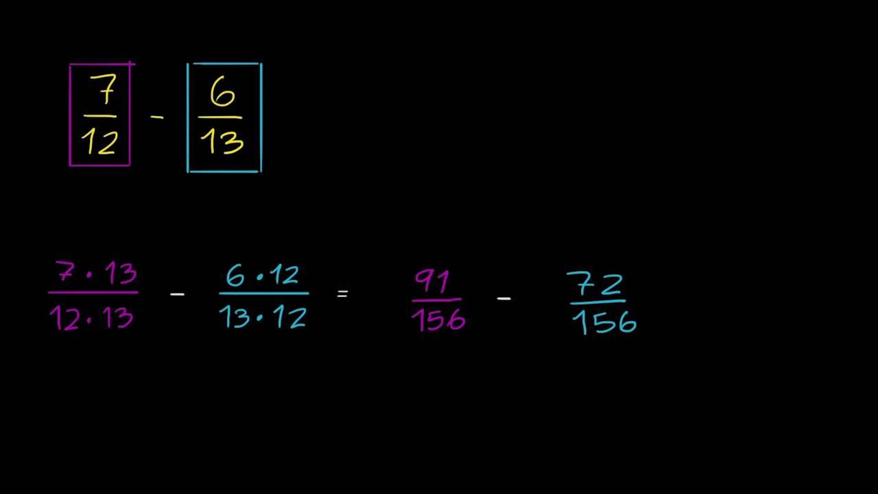 Subtração de frações com denominadores diferentes