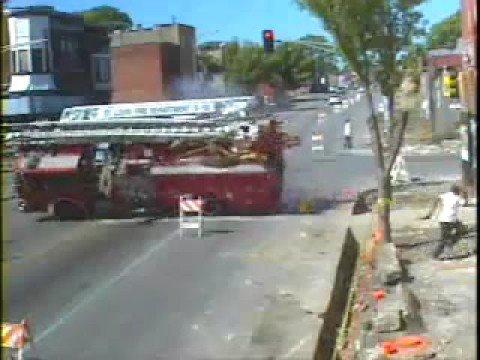 unbelievable fire truck crash