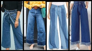 Outstanding Jeans wide leg Pants and Palazzo Designs 2020 - Denim pants design ideas